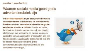 Blog Sociale media zijn geen advertentierubriek